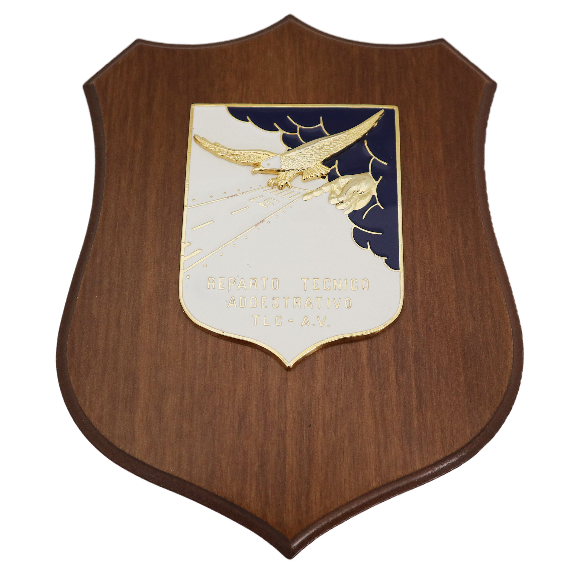 CREST IN METALLO SMALTATO BASE LEGNO CL3 22,50 X 17,50 CM REP TECN ADD T